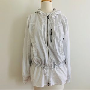 GAP White zipper up lined jacket with hood Small